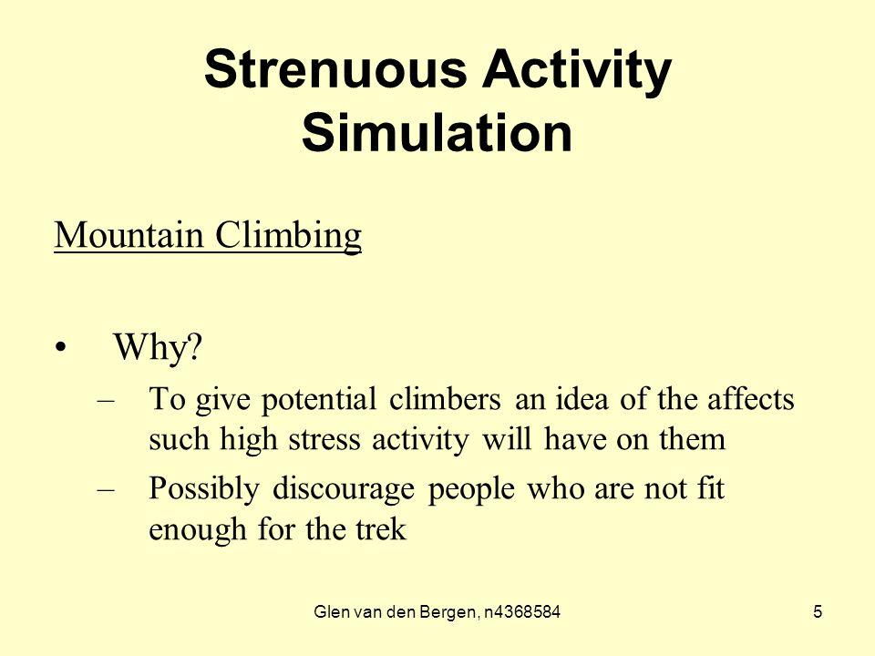 Glen van den Bergen, n43685845 Strenuous Activity Simulation Mountain Climbing Why.