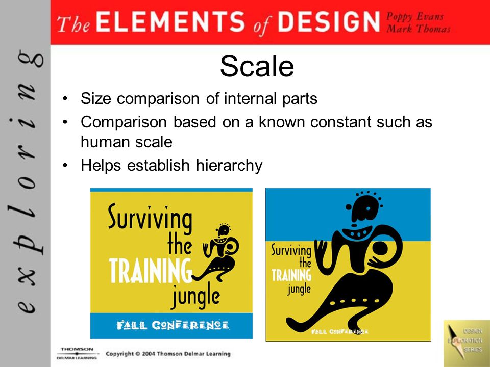 Scale Size comparison of internal parts Comparison based on a known constant such as human scale Helps establish hierarchy