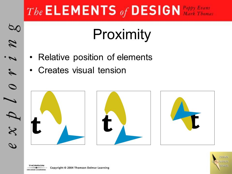 Proximity Relative position of elements Creates visual tension