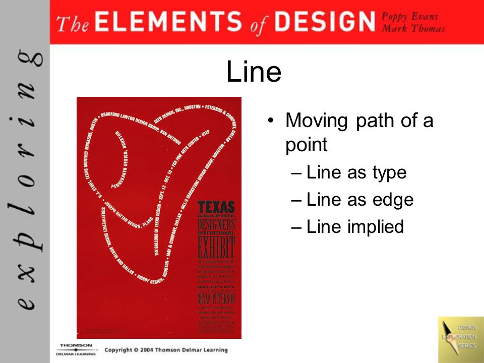 Line Moving path of a point –Line as type –Line as edge –Line implied
