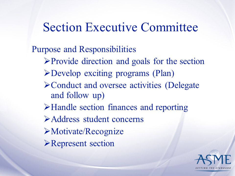 Section Executive Committee Purpose and Responsibilities  Provide direction and goals for the section  Develop exciting programs (Plan)  Conduct and oversee activities (Delegate and follow up)  Handle section finances and reporting  Address student concerns  Motivate/Recognize  Represent section