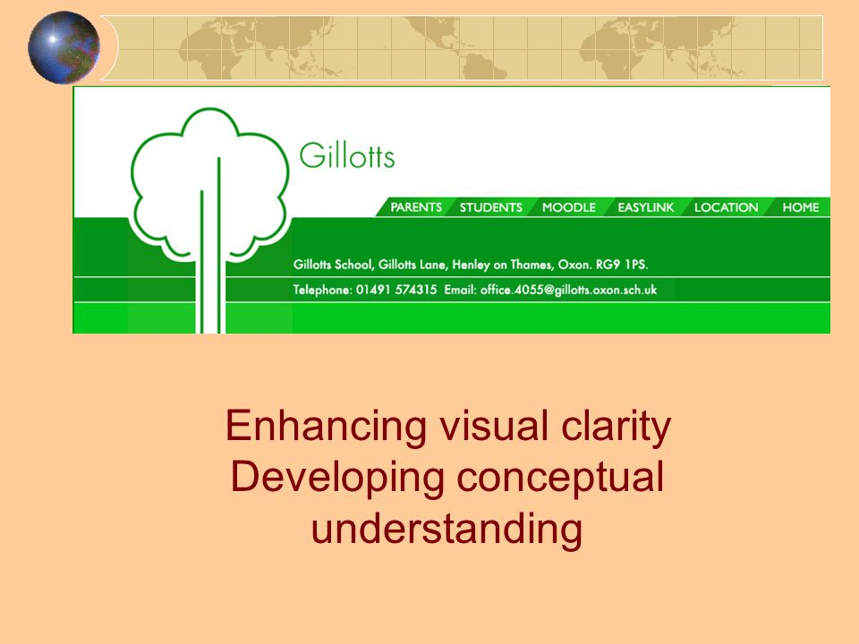 Enhancing visual clarity Developing conceptual understanding