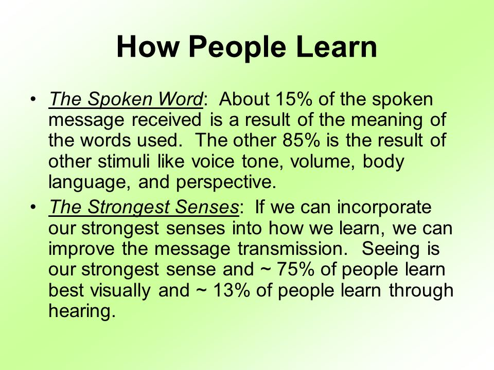 How People Learn The Spoken Word: About 15% of the spoken message received is a result of the meaning of the words used.
