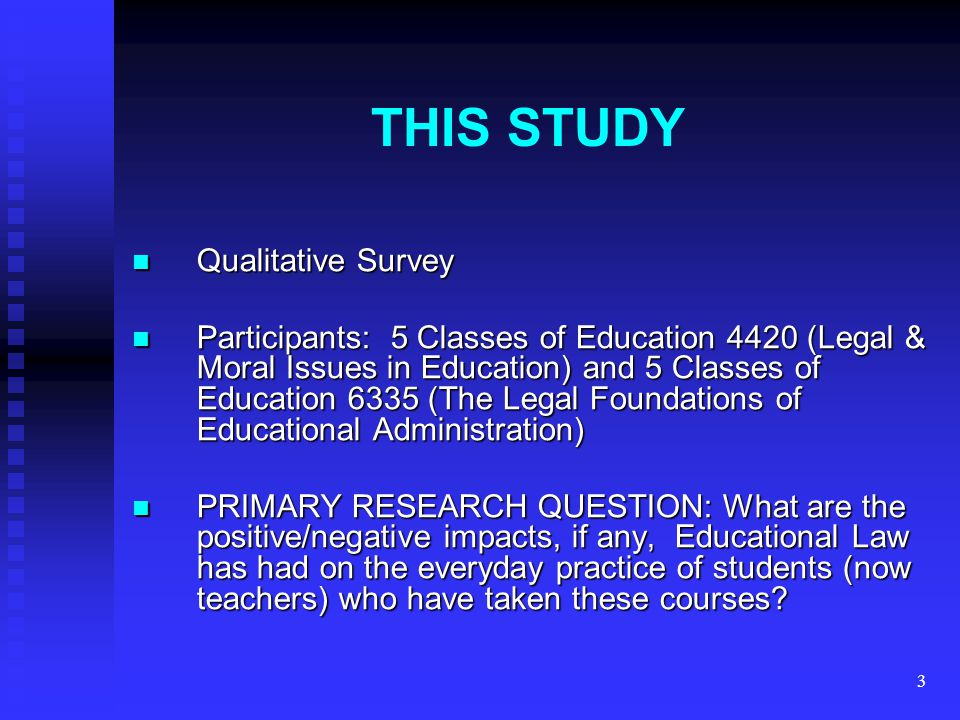 3 THIS STUDY Qualitative Survey Qualitative Survey Participants: 5 Classes of Education 4420 (Legal & Moral Issues in Education) and 5 Classes of Educ