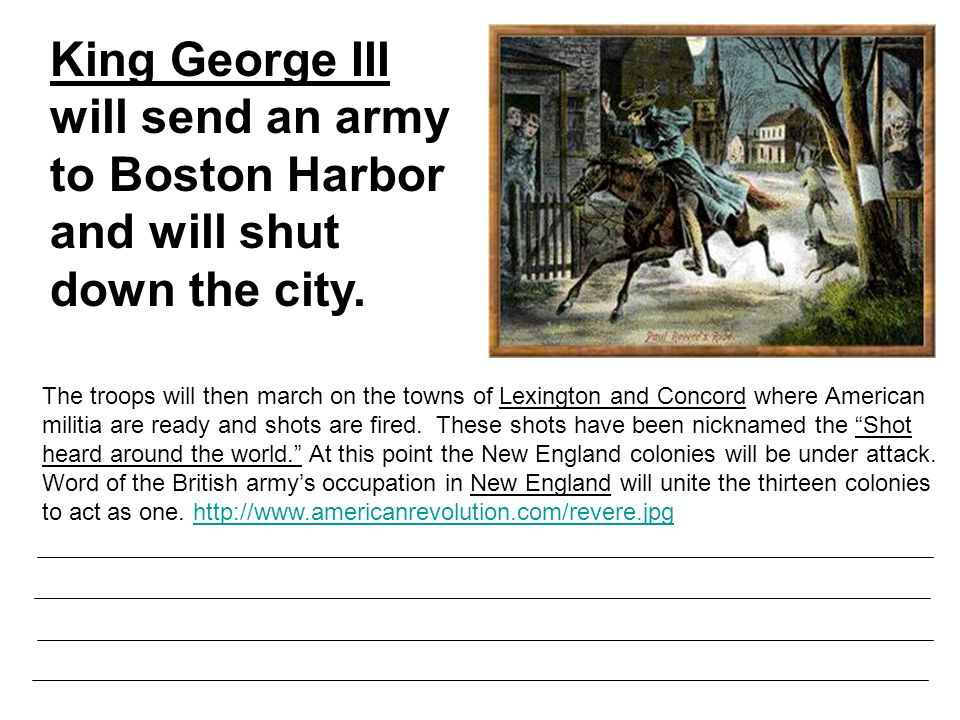 The troops will then march on the towns of Lexington and Concord where American militia are ready and shots are fired.