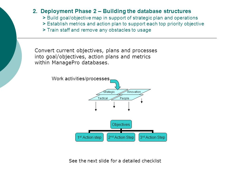 2. Deployment Phase 2 – Building the database structures > Build goal/objective map in support of strategic plan and operations > Establish metrics an