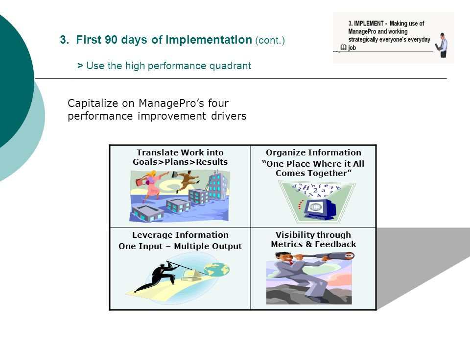 "3. First 90 days of Implementation (cont.) > Use the high performance quadrant Translate Work into Goals>Plans>Results Organize Information ""One Place"