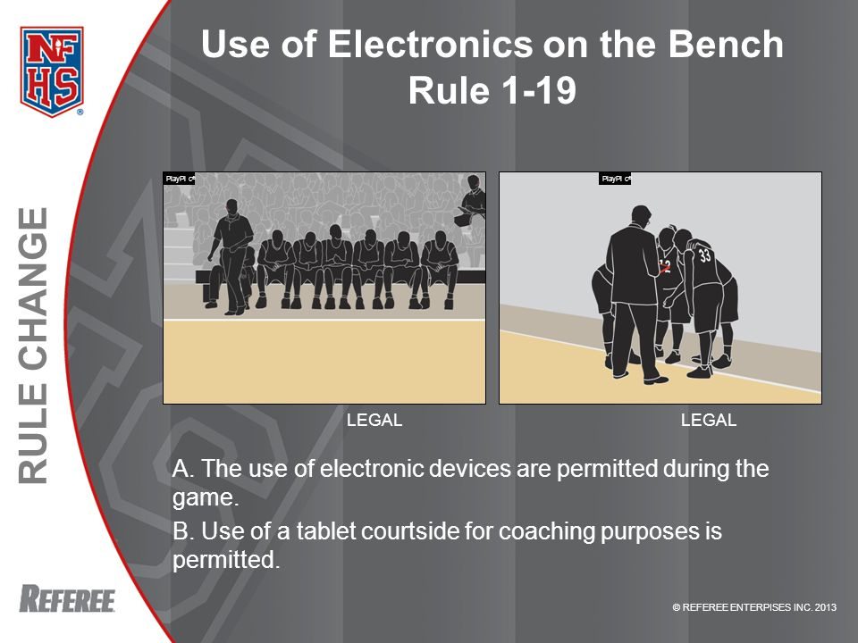 © REFEREE ENTERPISES INC. 2013 RULE CHANGE Use of Electronics on the Bench Rule 1-19 A.