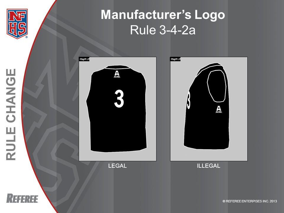 © REFEREE ENTERPISES INC. 2013 RULE CHANGE Manufacturer's Logo Rule 3-4-2a LEGALILLEGAL PlayPi c ®