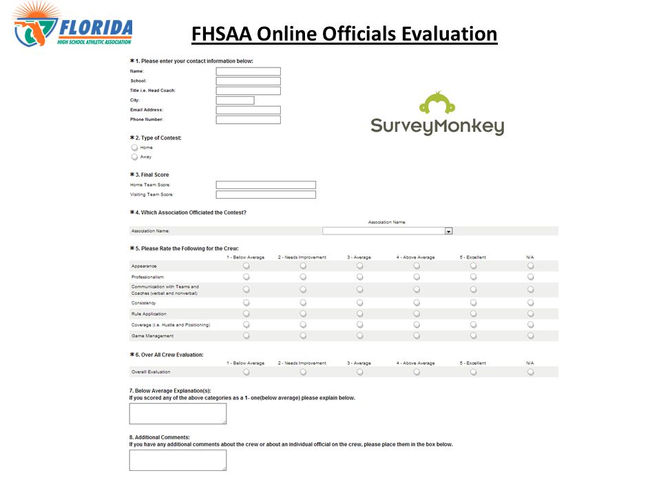 FHSAA Online Officials Evaluation