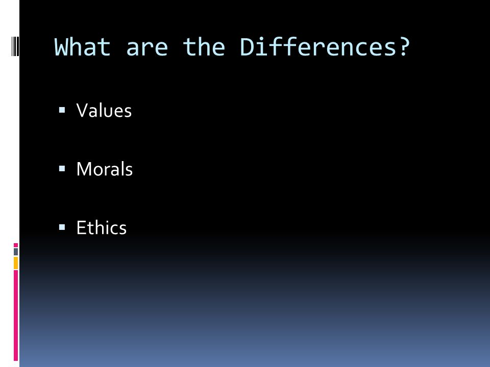 What are the Differences?  Values  Morals  Ethics