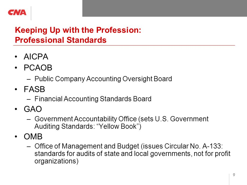 9 Keeping Up with the Profession: Professional Standards AICPA PCAOB –Public Company Accounting Oversight Board FASB –Financial Accounting Standards Board GAO –Government Accountability Office (sets U.S.