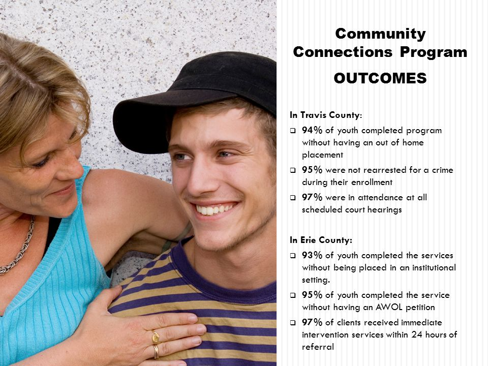 Community Connections Program OUTCOMES In Travis County:  94% of youth completed program without having an out of home placement  95% were not rearrested for a crime during their enrollment  97% were in attendance at all scheduled court hearings In Erie County:  93% of youth completed the services without being placed in an institutional setting.