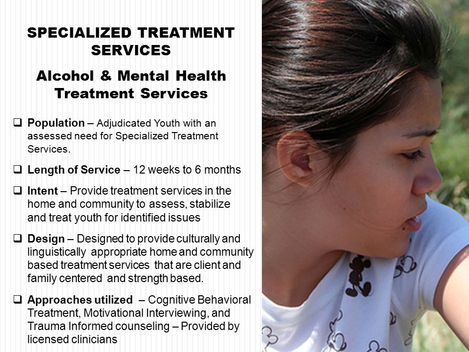  Population – Adjudicated Youth with an assessed need for Specialized Treatment Services.
