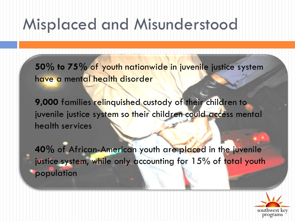 Misplaced and Misunderstood 50% to 75% of youth nationwide in juvenile justice system have a mental health disorder 9,000 families relinquished custody of their children to juvenile justice system so their children could access mental health services 40% of African-American youth are placed in the juvenile justice system, while only accounting for 15% of total youth population