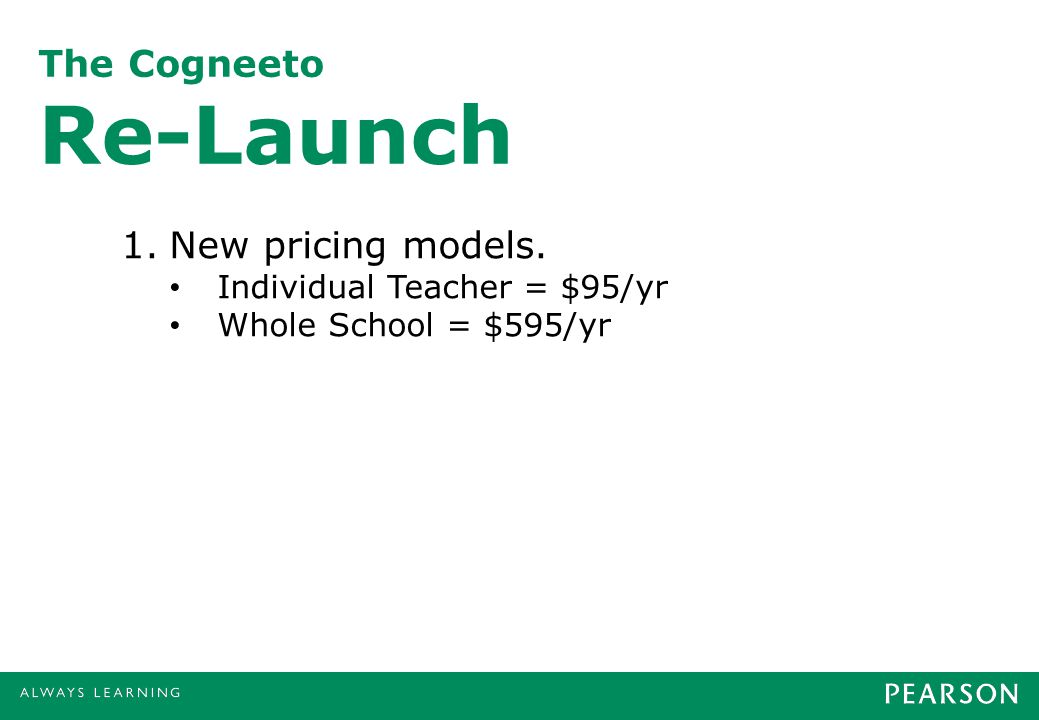 The Cogneeto Re-Launch 1.New pricing models. Individual Teacher = $95/yr Whole School = $595/yr