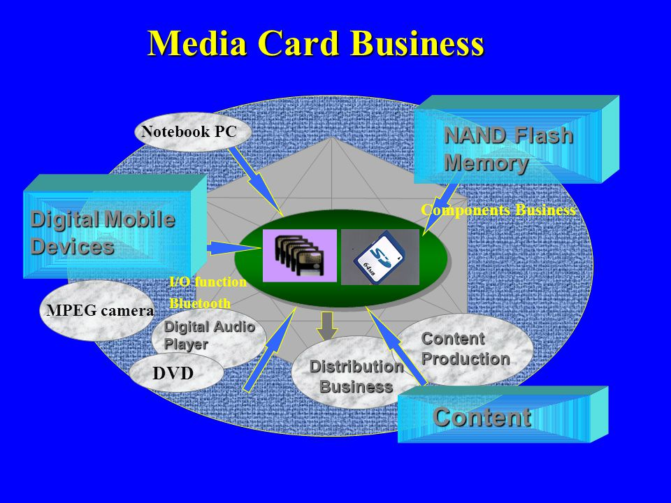 Media Card Business DistributionBusiness ContentProduction Digital Audio Player Content Digital Mobile Devices NAND Flash Memory MPEG camera DVD Noteb