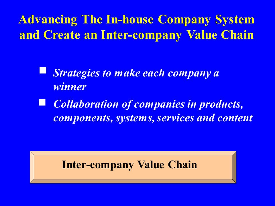 Strategies to make each company a winner ■ Collaboration of companies in products, components, systems, services and content ■ Advancing The In-house
