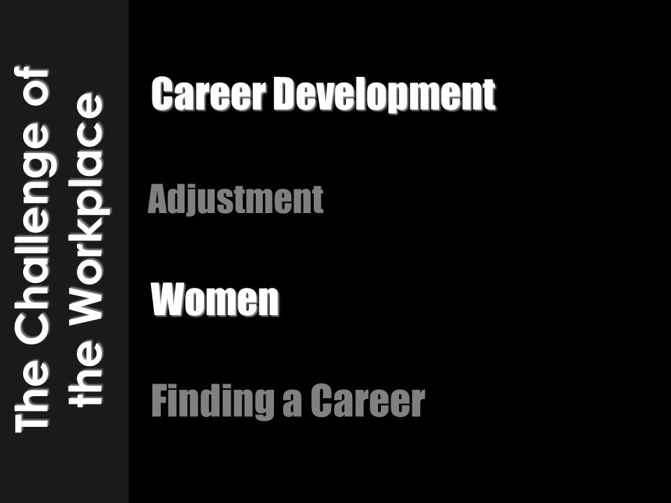Adjustment The Challenge of the Workplace Finding a Career Women Career Development