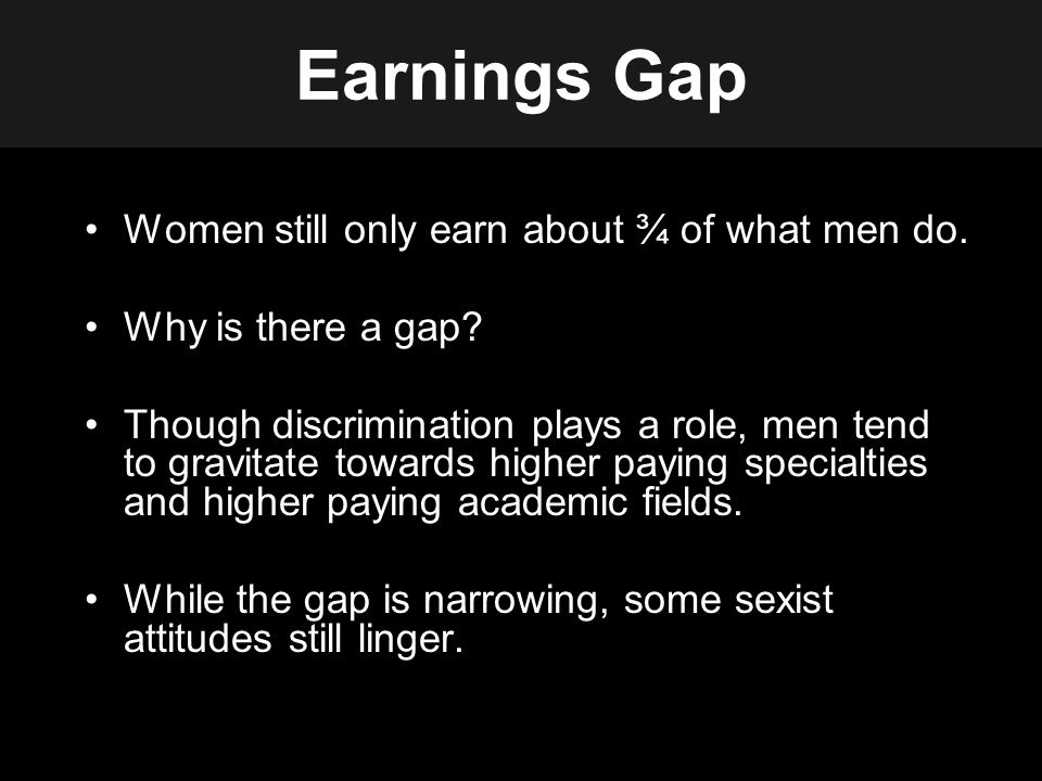 Earnings Gap Women still only earn about ¾ of what men do.