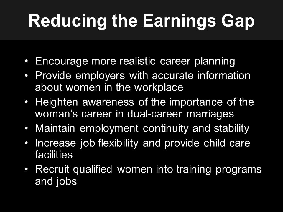 Reducing the Earnings Gap Encourage more realistic career planning Provide employers with accurate information about women in the workplace Heighten awareness of the importance of the woman's career in dual-career marriages Maintain employment continuity and stability Increase job flexibility and provide child care facilities Recruit qualified women into training programs and jobs