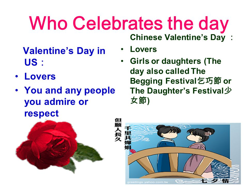 Who Celebrates the day Valentine's Day in US : Lovers You and any people you admire or respect Chinese Valentine's Day : Lovers Girls or daughters (The day also called The Begging Festival 乞巧節 or The Daughter's Festival 少 女節 )
