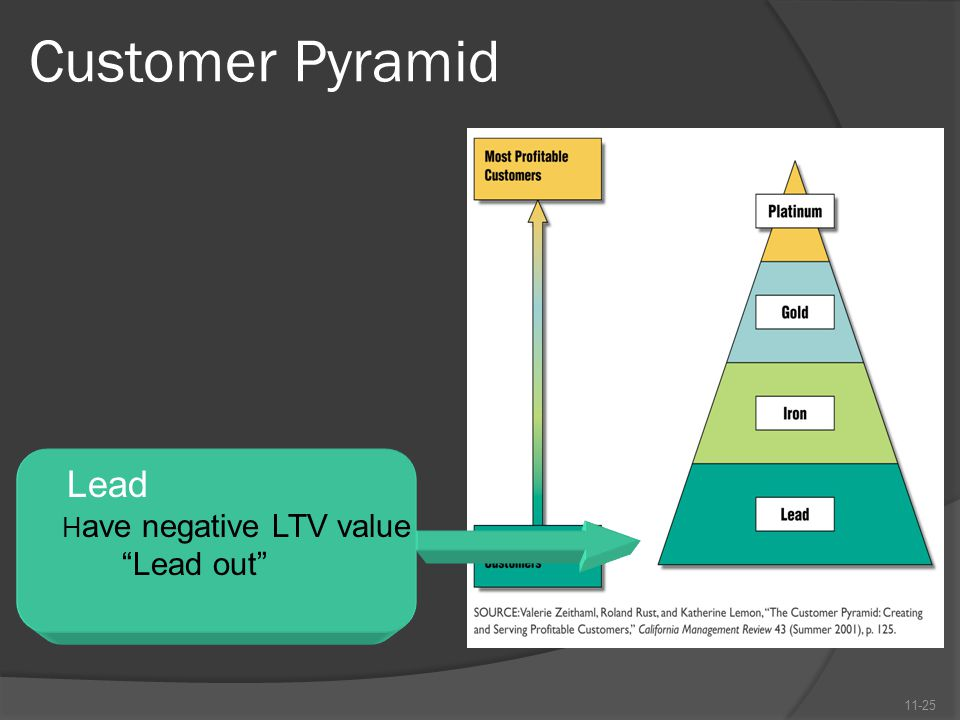 "Customer Pyramid 11-25 Lead H ave negative LTV value ""Lead out"""