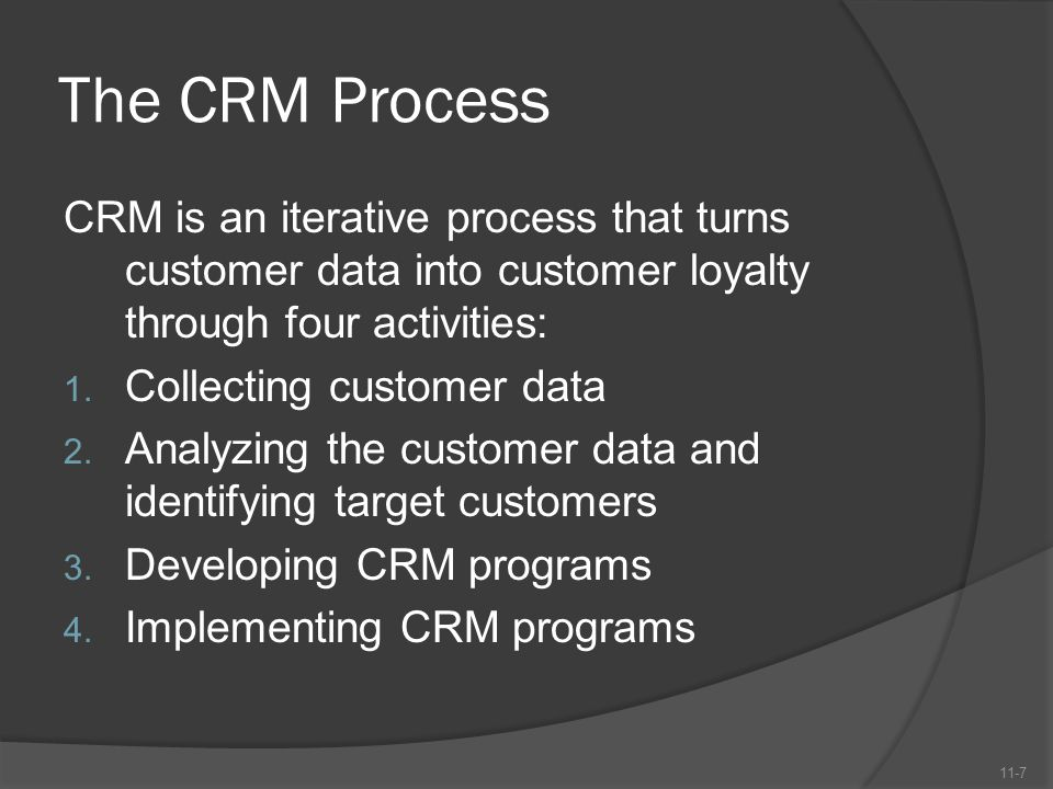 The CRM Process CRM is an iterative process that turns customer data into customer loyalty through four activities: 1. Collecting customer data 2. Ana