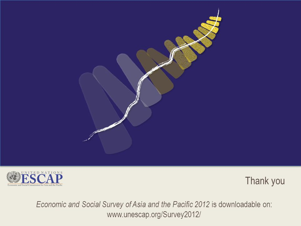 Thank you Economic and Social Survey of Asia and the Pacific 2012 is downloadable on: www.unescap.org/Survey2012/