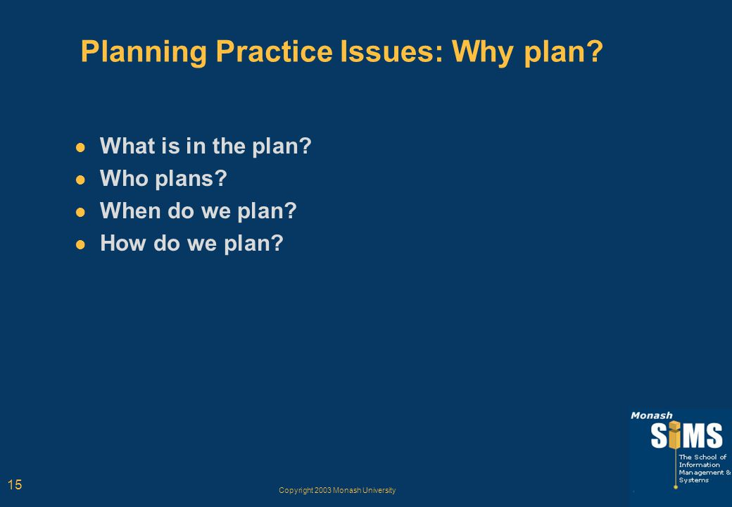 Copyright 2003 Monash University 15 Planning Practice Issues: Why plan? What is in the plan? Who plans? When do we plan? How do we plan?