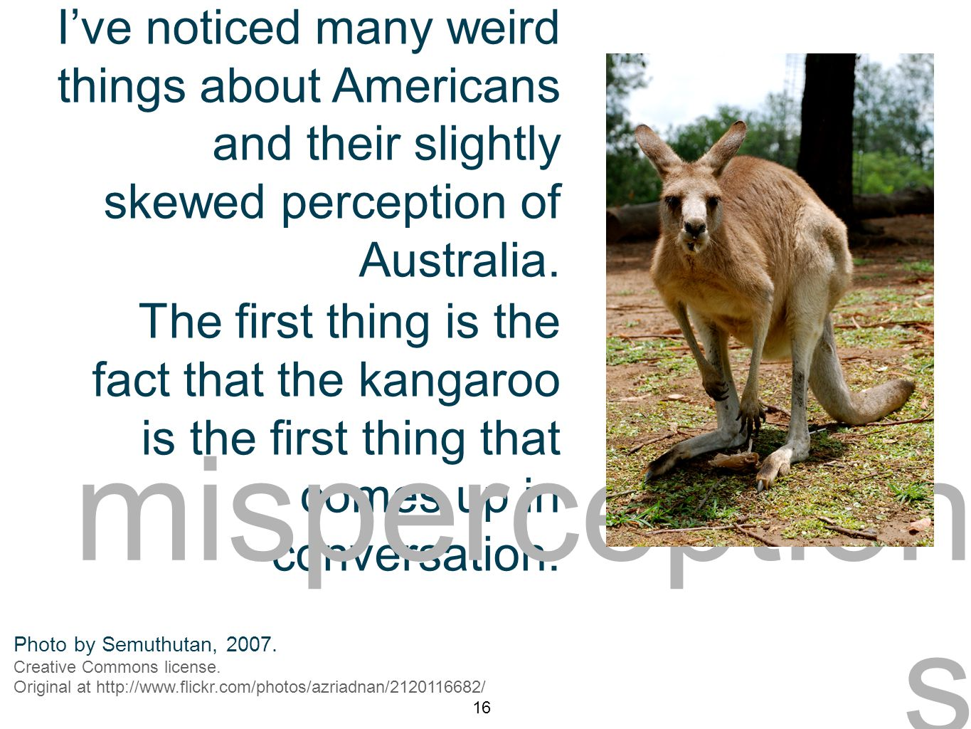6. misperceptions 1 I've noticed many weird things about Americans and their slightly skewed perception of Australia. The first thing is the fact that