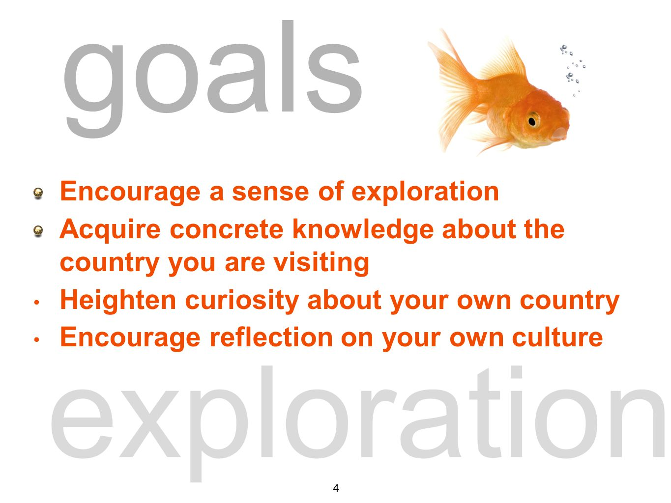 goals exploration Encourage a sense of exploration Acquire concrete knowledge about the country you are visiting Heighten curiosity about your own country Encourage reflection on your own culture goals 4