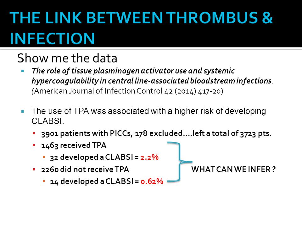 Show me the data  The role of tissue plasminogen activator use and systemic hypercoagulability in central line-associated bloodstream infections.