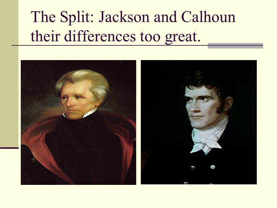 The Split: Jackson and Calhoun their differences too great.