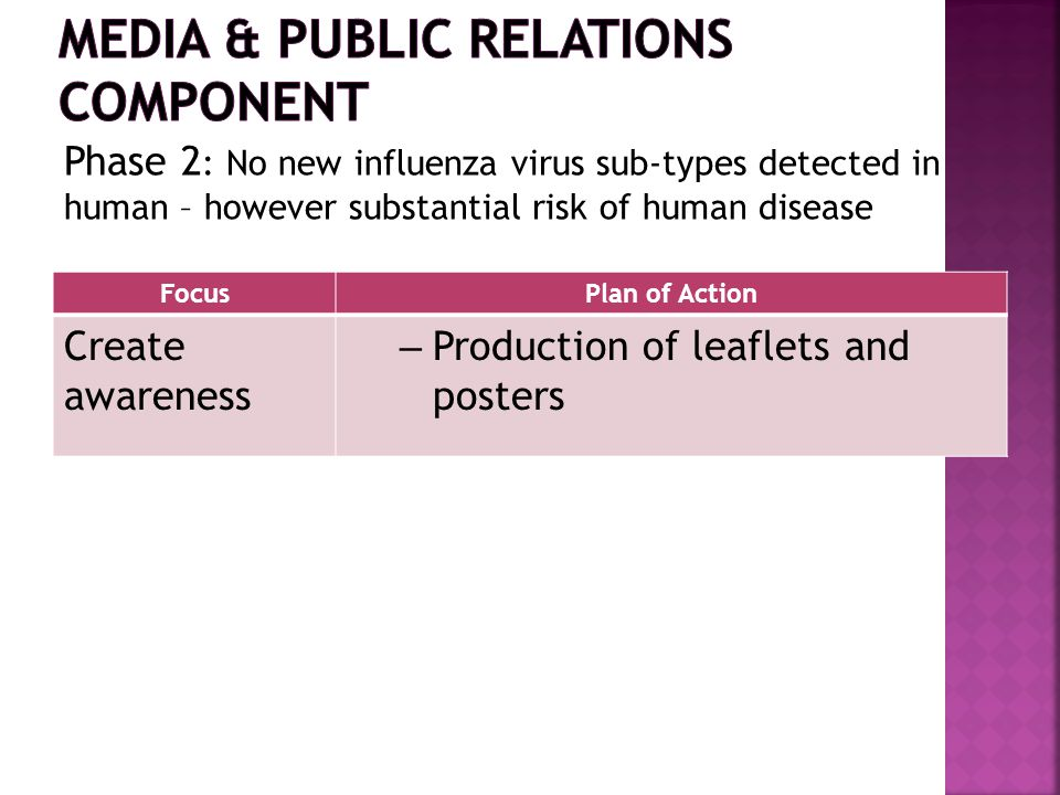 FocusPlan of Action Create awareness – Production of leaflets and posters Phase 2 : No new influenza virus sub-types detected in human – however substantial risk of human disease