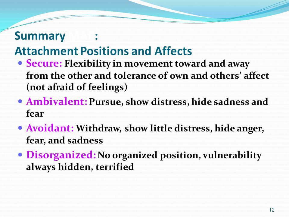 Summary MAP: Attachment Positions and Affects Secure: Flexibility in movement toward and away from the other and tolerance of own and others' affect (not afraid of feelings) Ambivalent: Pursue, show distress, hide sadness and fear Avoidant: Withdraw, show little distress, hide anger, fear, and sadness Disorganized: No organized position, vulnerability always hidden, terrified 12