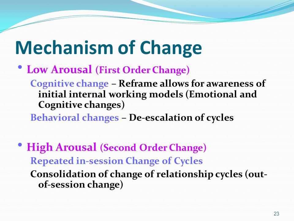 Mechanism of Change Low Arousal (First Order Change) Cognitive change – Reframe allows for awareness of initial internal working models (Emotional and Cognitive changes) Behavioral changes – De-escalation of cycles High Arousal (Second Order Change) Repeated in-session Change of Cycles Consolidation of change of relationship cycles (out- of-session change) 23