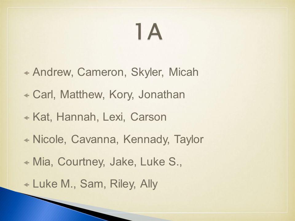  Andrew, Cameron, Skyler, Micah  Carl, Matthew, Kory, Jonathan  Kat, Hannah, Lexi, Carson  Nicole, Cavanna, Kennady, Taylor  Mia, Courtney, Jake, Luke S.,  Luke M., Sam, Riley, Ally