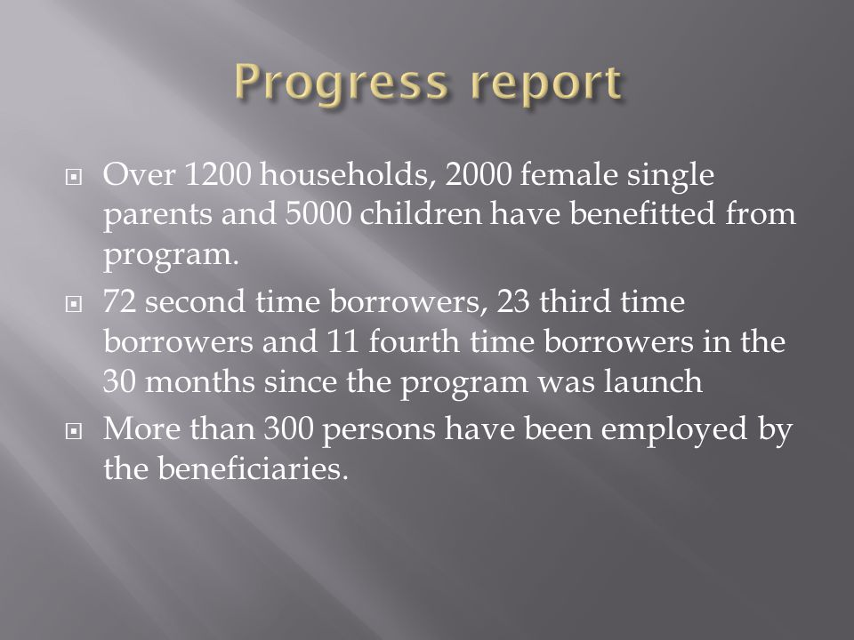  Over 1200 households, 2000 female single parents and 5000 children have benefitted from program.  72 second time borrowers, 23 third time borrowers