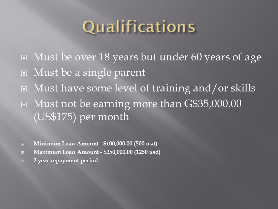  Must be over 18 years but under 60 years of age  Must be a single parent  Must have some level of training and/or skills  Must not be earning more than G$35,000.00 (US$175) per month  Minimum Loan Amount - $100,000.00 (500 usd)  Maximum Loan Amount - $250,000.00 (1250 usd)  2 year repayment period