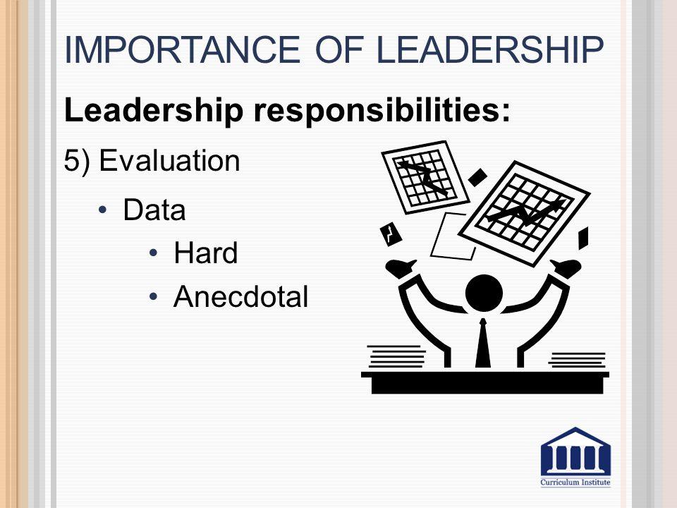 Leadership responsibilities: 5) Evaluation Data Hard Anecdotal IMPORTANCE OF LEADERSHIP