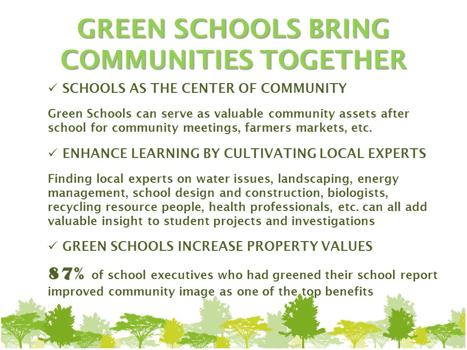 SCHOOLS AS THE CENTER OF COMMUNITY Green Schools can serve as valuable community assets after school for community meetings, farmers markets, etc.