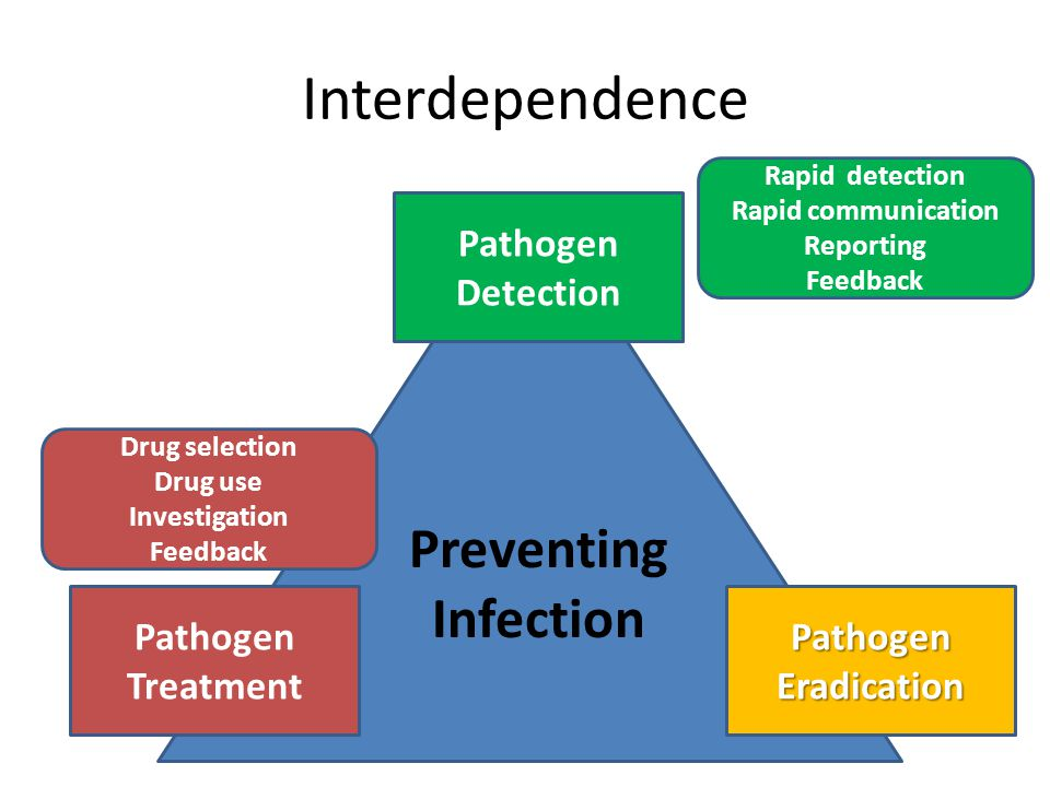 Interdependence Preventing Infection Pathogen Detection PathogenEradication Pathogen Treatment Drug selection Drug use Investigation Feedback Rapid detection Rapid communication Reporting Feedback