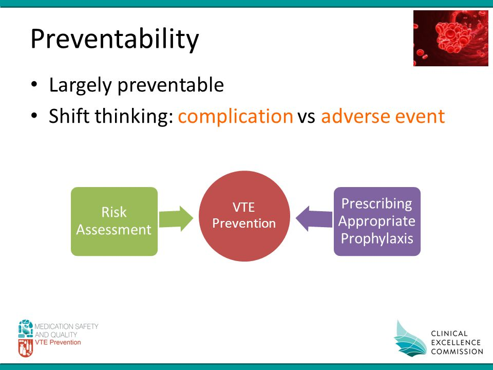 Preventability Largely preventable Shift thinking: complication vs adverse event
