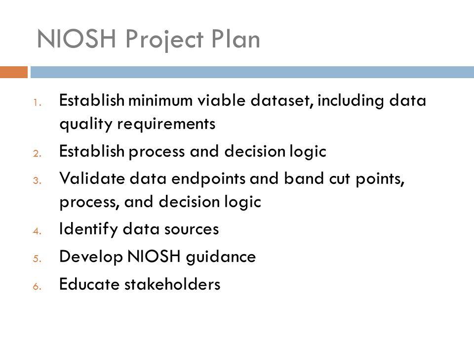NIOSH Project Plan 1. Establish minimum viable dataset, including data quality requirements 2. Establish process and decision logic 3. Validate data e