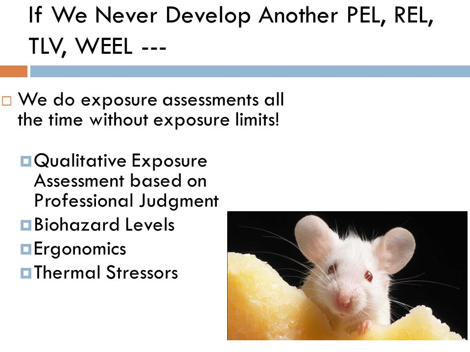 If We Never Develop Another PEL, REL, TLV, WEEL ---  We do exposure assessments all the time without exposure limits!  Qualitative Exposure Assessme