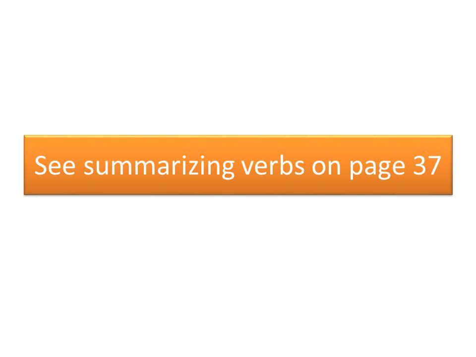 See summarizing verbs on page 37