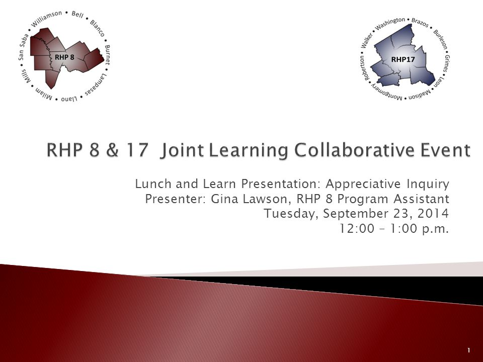 Lunch and Learn Presentation: Appreciative Inquiry Presenter: Gina Lawson, RHP 8 Program Assistant Tuesday, September 23, 2014 12:00 – 1:00 p.m.
