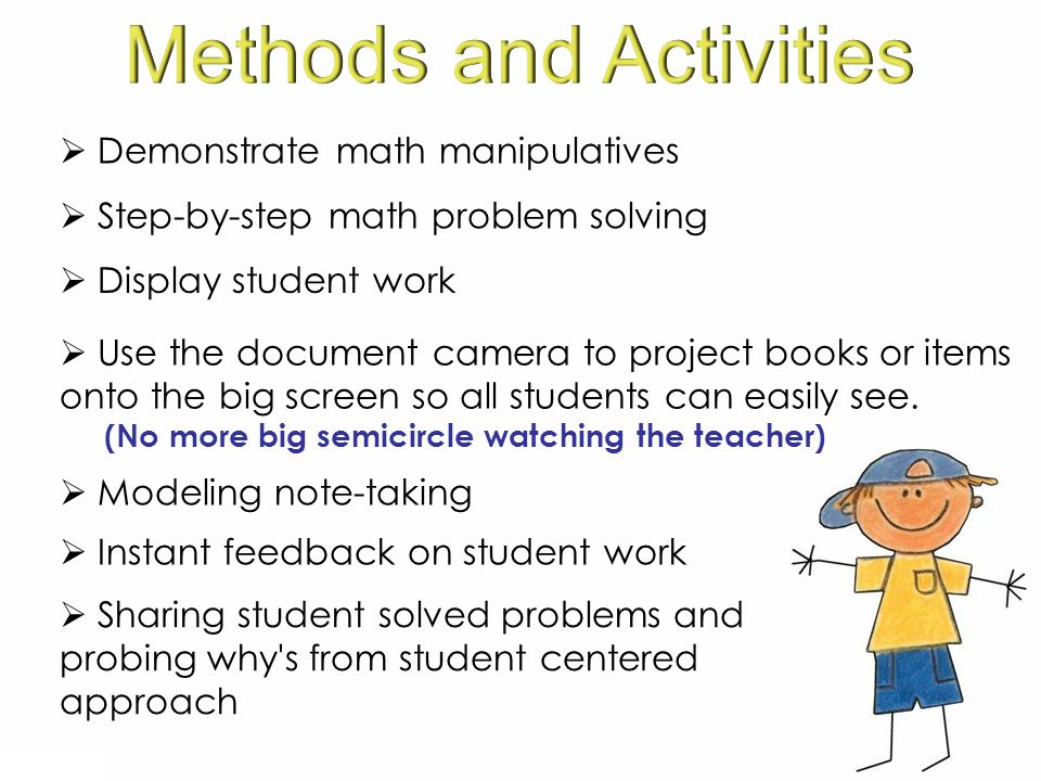  Sharing student solved problems and probing why s from student centered approach  Demonstrate math manipulatives  Step-by-step math problem solving  Display student work  Modeling note-taking  Use the document camera to project books or items onto the big screen so all students can easily see.