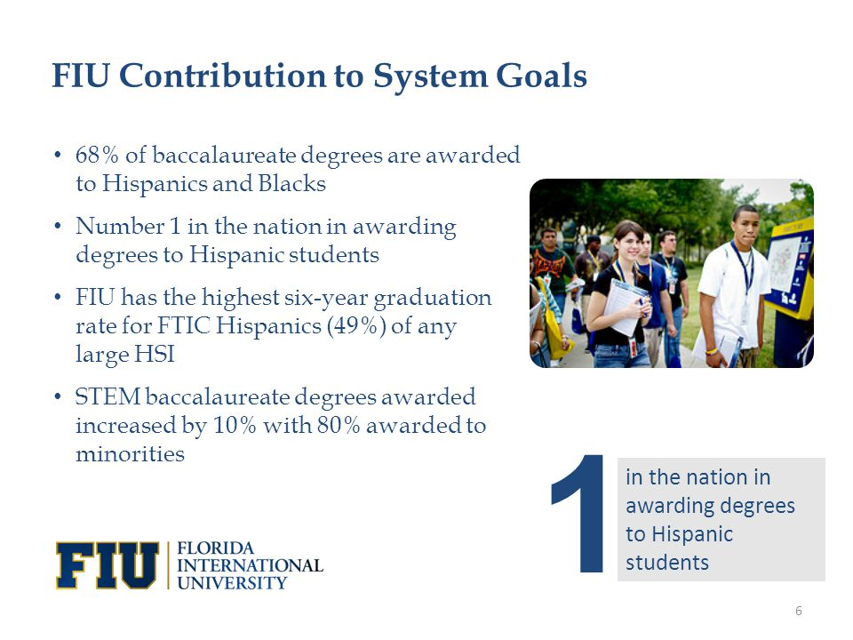 68% of baccalaureate degrees are awarded to Hispanics and Blacks Number 1 in the nation in awarding degrees to Hispanic students FIU has the highest six-year graduation rate for FTIC Hispanics (49%) of any large HSI STEM baccalaureate degrees awarded increased by 10% with 80% awarded to minorities FIU Contribution to System Goals 1 in the nation in awarding degrees to Hispanic students 6
